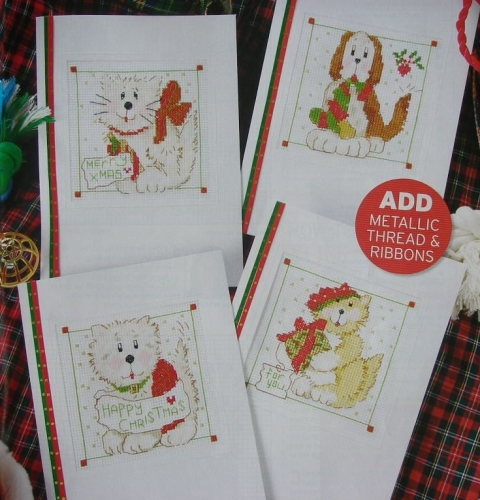 Cats & Dogs In the Snow Christmas Cards ~ Four Cross Stitch Charts