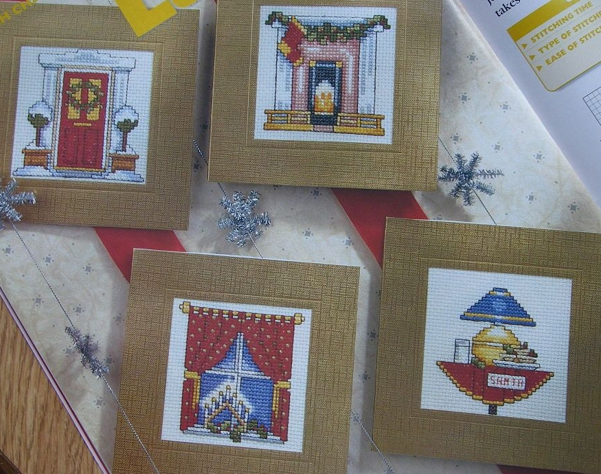 Cosy Home Christmas Cards ~ Four Cross Stitch Charts