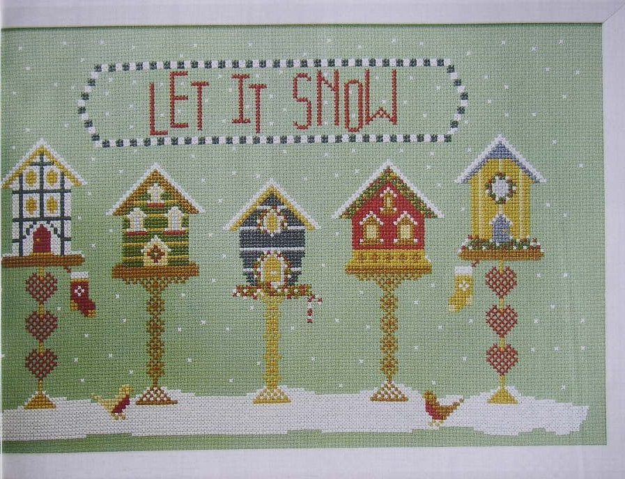 Let It Snow Winter Bird House Scene ~ Cross Stitch Chart