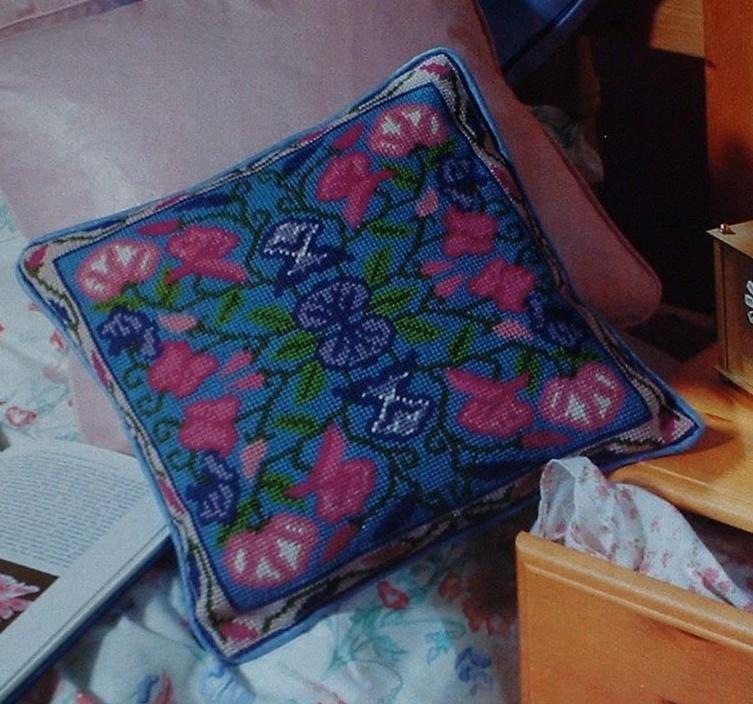Sweet Pea Floral Cushion ~ Needlepoint Cushion