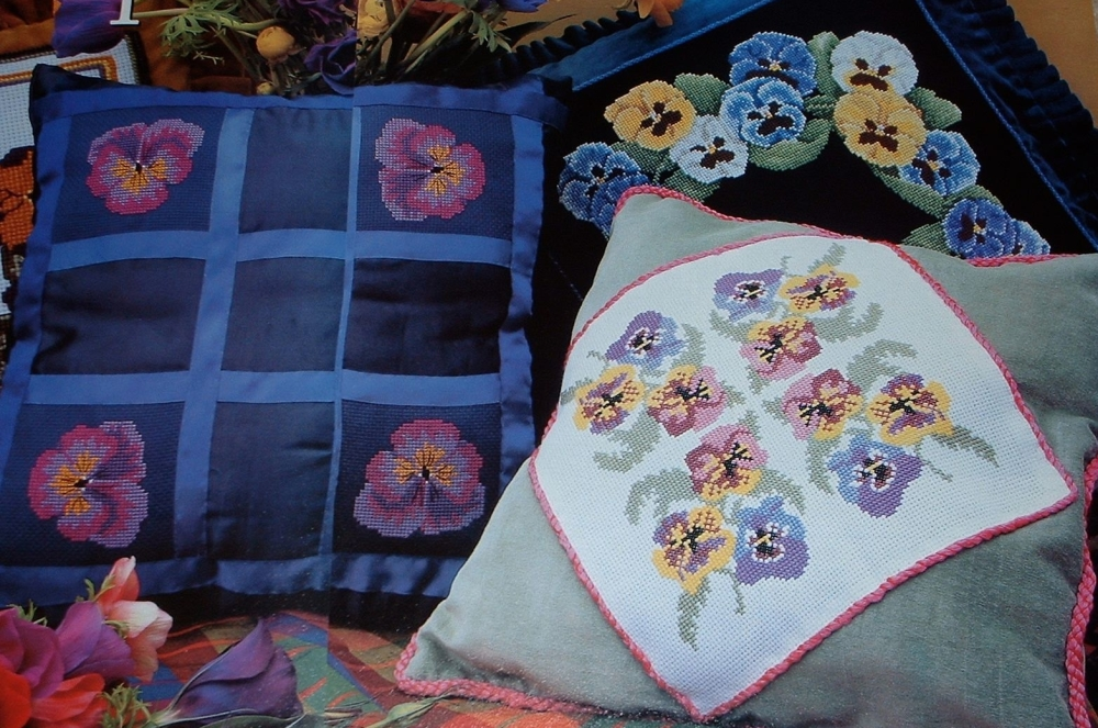 Pansy Cushions & Curtain Tie Back ~ Five Cross Stitch Charts