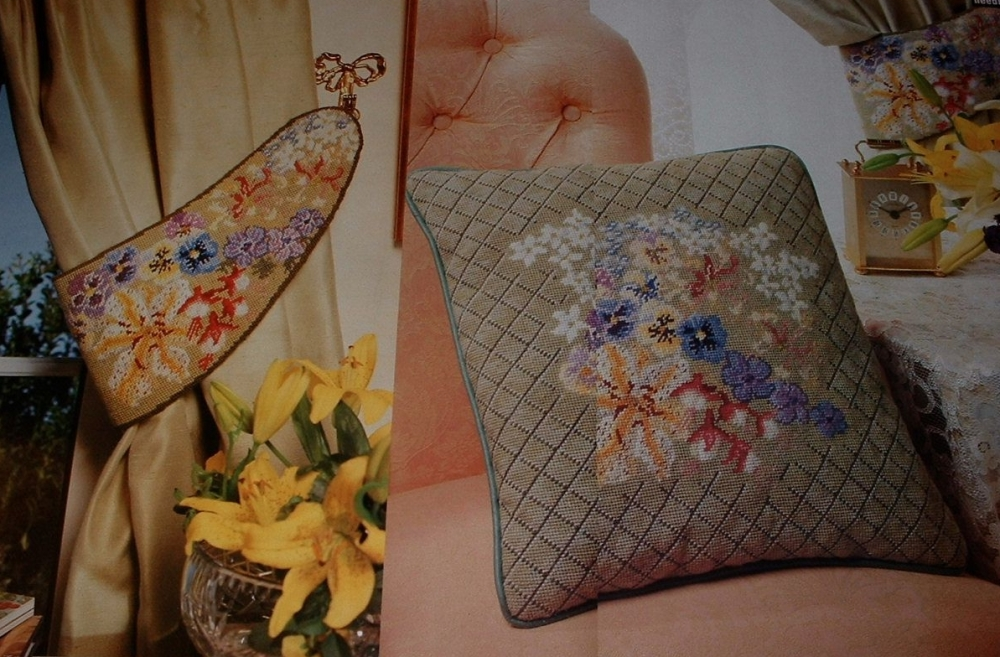 A Bouquet of Flowers Cushion & Curtain Tie Back ~ Two Needlepoint Patterns