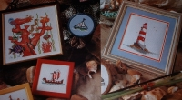 Lighthouse, Boats & Fish Amongst Reef ~ Six Cross Stitch Charts
