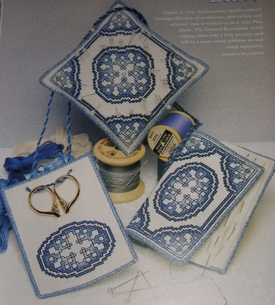 Delfware Blue & White Needleworker's Kit ~ Three Cross Stitch Charts