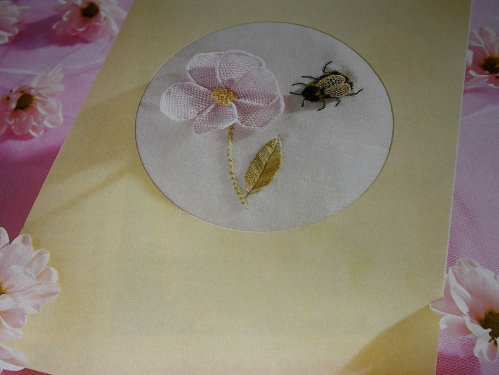The Honey Bee & Flower ~ Stumpwork Embroidery Pattern