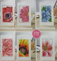 Six Close Up Floral Cards ~ Cross Stitch Charts