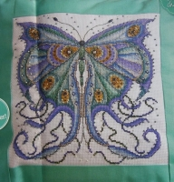 Art Nouveau Style Butterfly Cushion ~ Cross Stitch Chart