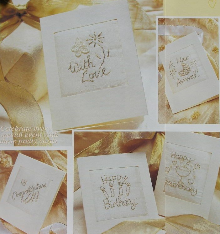 Golden Embroidered Cards with Beads ~ Five Hand Embroidery Patterns