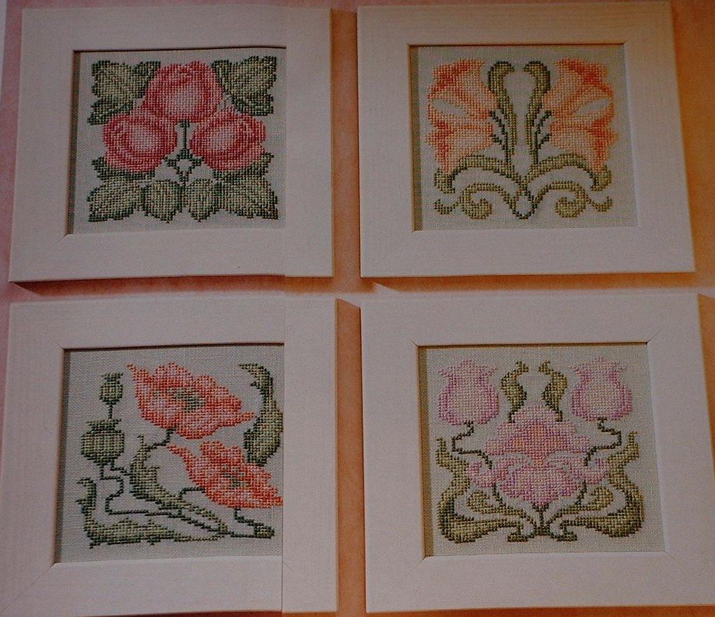 Art Nouveau Florals ~ Four Cross Stitch Charts