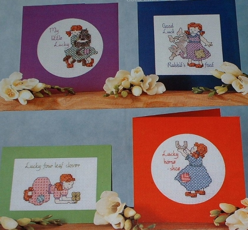 FOUR Good Luck Cards ~ Cross Stitch Charts