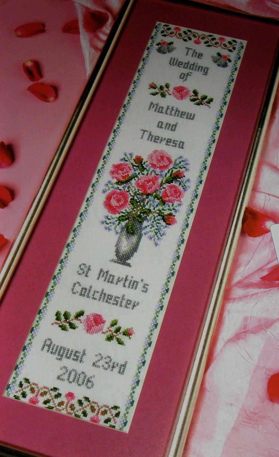 Roses / Golden / Silver Wedding Day / Anniversary Sampler ~ Cross Stitch Ch