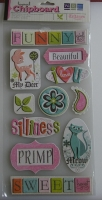 We R Memory Keepers: Tiffanys Words ~ Adhesive Layered Word Chipboard Stickers