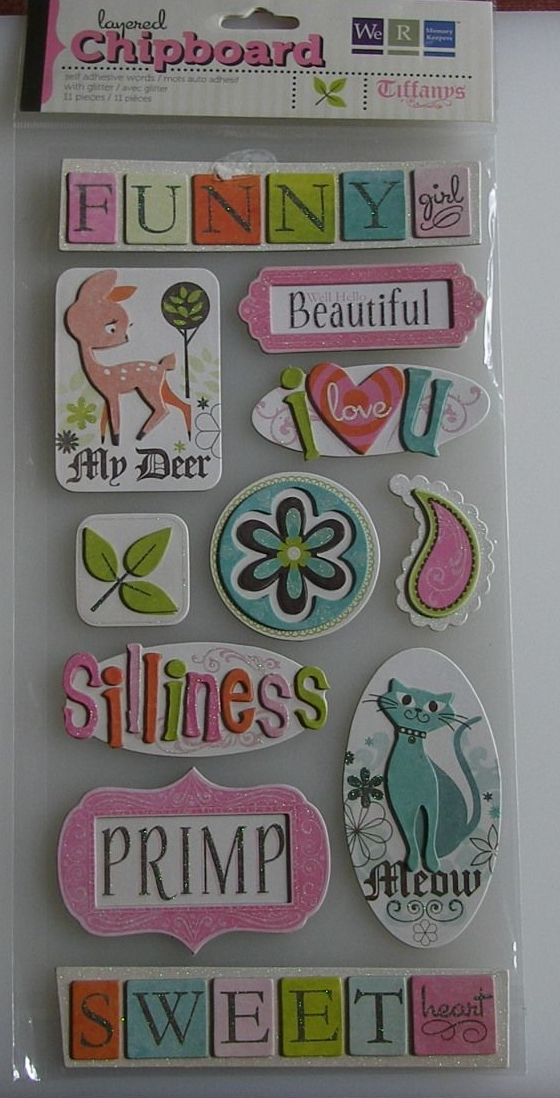 We R Memory Keepers: Tiffanys Words ~ Adhesive Layered Word Chipboard Stick