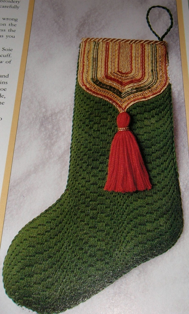 Jewelled Mini Christmas Stocking ~ Goldwork Embroidery Pattern