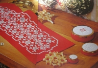 Norwegian Hardanger Christmas Table Runner & Trinket Pot Lids ~ Hardanger Patterns
