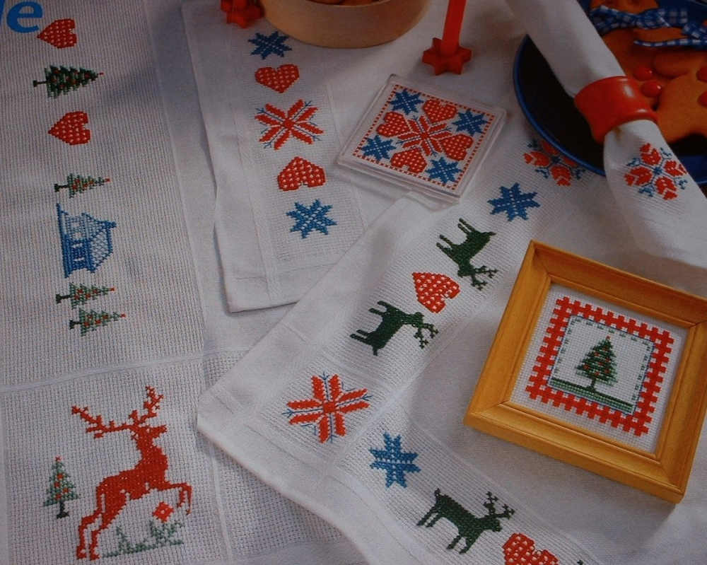 Shaker Style Christmas Table Linen ~ Nine Cross Stitch Charts