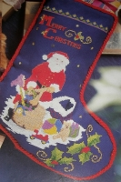 Santa & Toys Christmas Stocking ~ Cross Stitch Chart