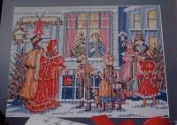 Victorian Christmas Carol Singers Scene ~ Cross Stitch Chart