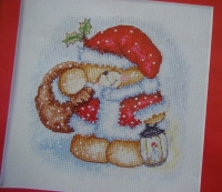 Forever Friends Bear in Santa Costume in the Snow ~ Cross Stitch Chart