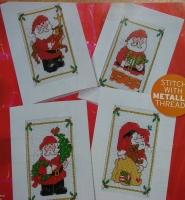 Santa Claus Christmas Cards ~ Four Cross Stitch Charts