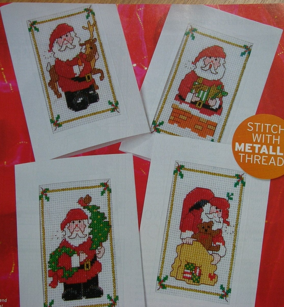 Santa Claus Christmas Cards ~ Four Cross Stitch Charts