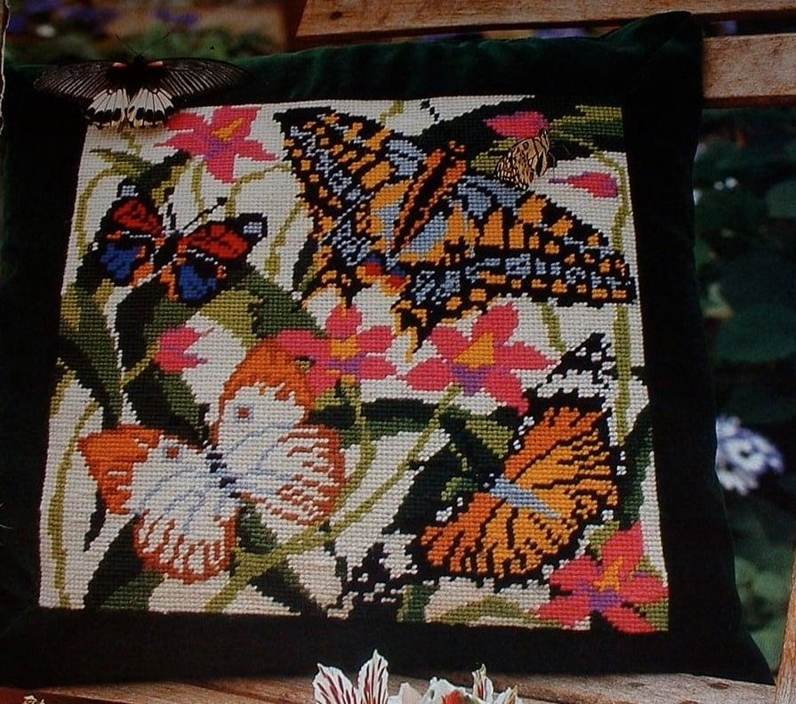 Luxurious Velvet Edged Butterfly Cushion ~ Needlepoint Chart