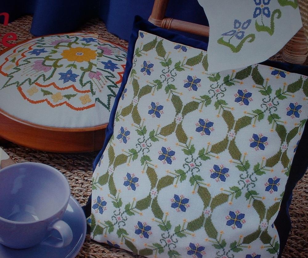 Eastern Style Geometric Cushion, Curtain & Footstool ~ Three Cross Stitch C