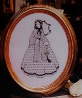 Victorian Lady in Crinoline Dress ~ Blackwork Embroidery Pattern