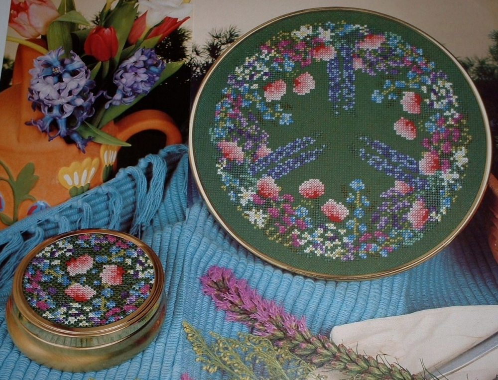 Cottage Garden Tray & Trinket Lid ~ Two Cross Stitch Charts