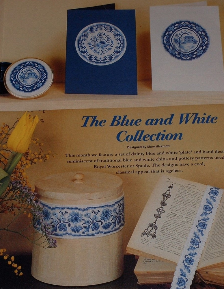 Blue & White Circular Cards Bandings & Bookmarks ~ Cross Stitch Charts