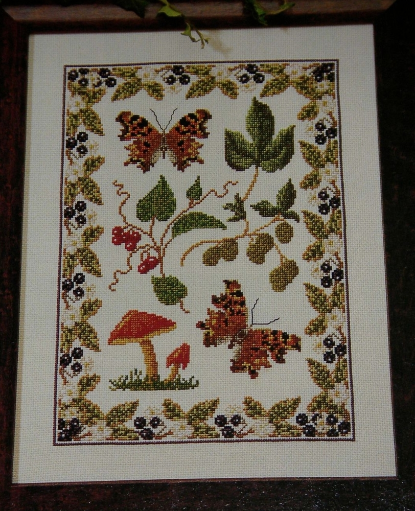 Autumnal Comma Butterfly Sampler ~ Cross Stitch Chart