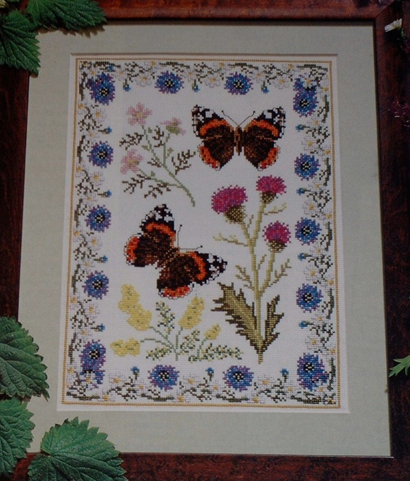 Red Admiral Butterfly Sampler with Wildflowers ~ Cross Stitch Chart