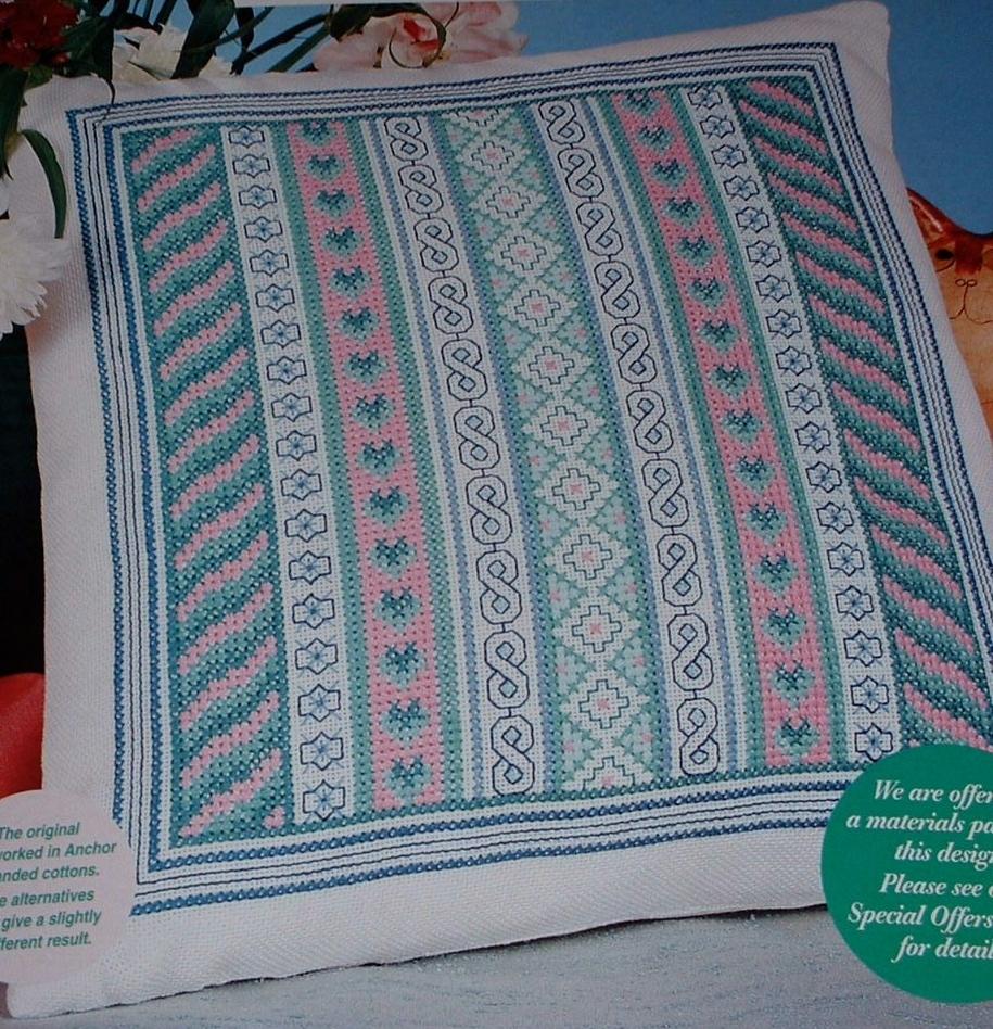 Cross Stitch & Blackwork Band Cushion ~ Embroidery Patttern