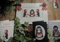 Four Christmas Penguin Cards ~ Cross Stitch Charts
