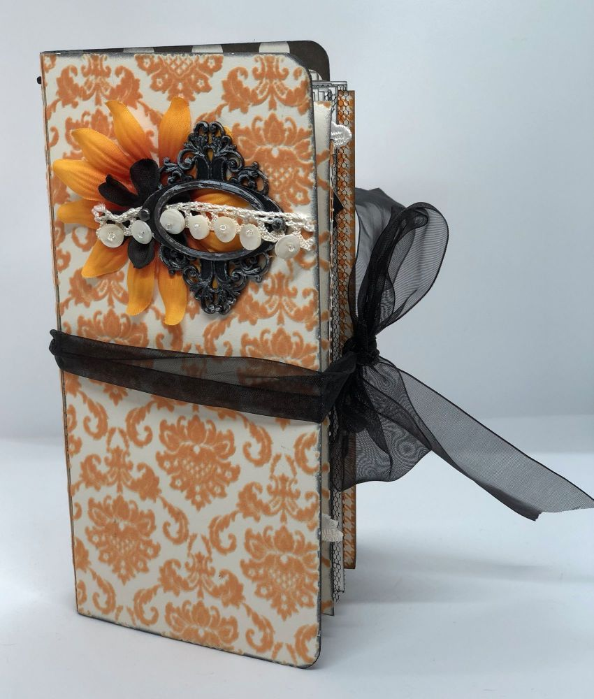 *black & orange* OOAK Handmade Fauxdori Junk Journal Travelers Notebook Pho