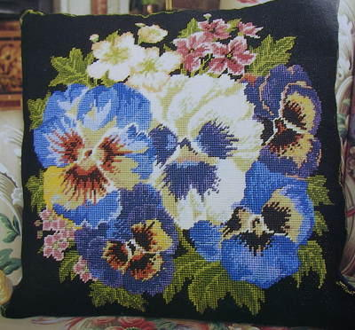 Pansy Needlepoint Cushion ~ Needlepoint Pattern