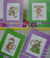 Cheeky Monkeys Christmas Cards ~ Four Cross Stitch Charts