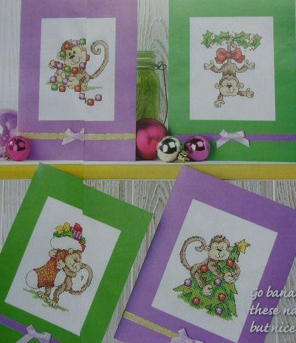 Cheeky Monkeys Christmas Cards ~ Four Cross Stitch Charts