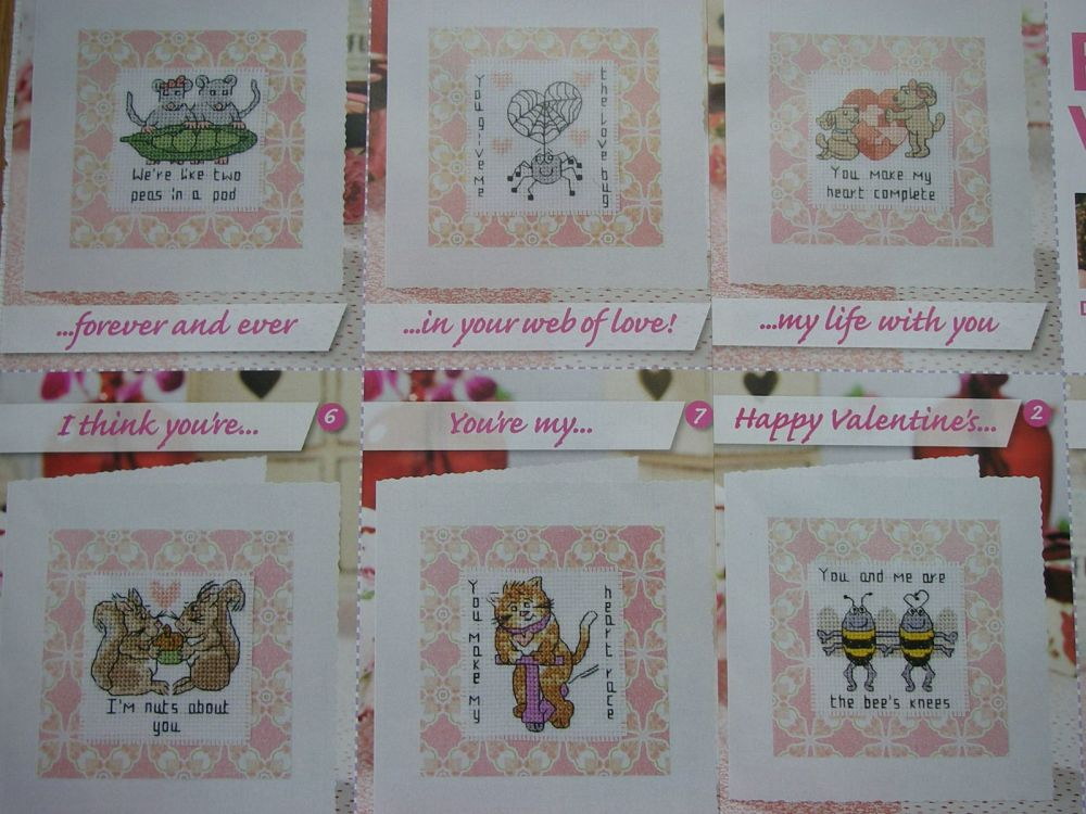 Seven Valentine's Day / Anniversary Cards ~ Cross Stitch Charts