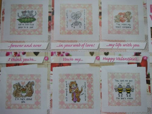 Seven Valentine's Day / Anniversary Cards ~ Cross Stitch Charts