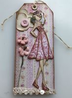 *kissing booth kate*  OOAK Handmade Julie Nutting Tag **RESERVED**