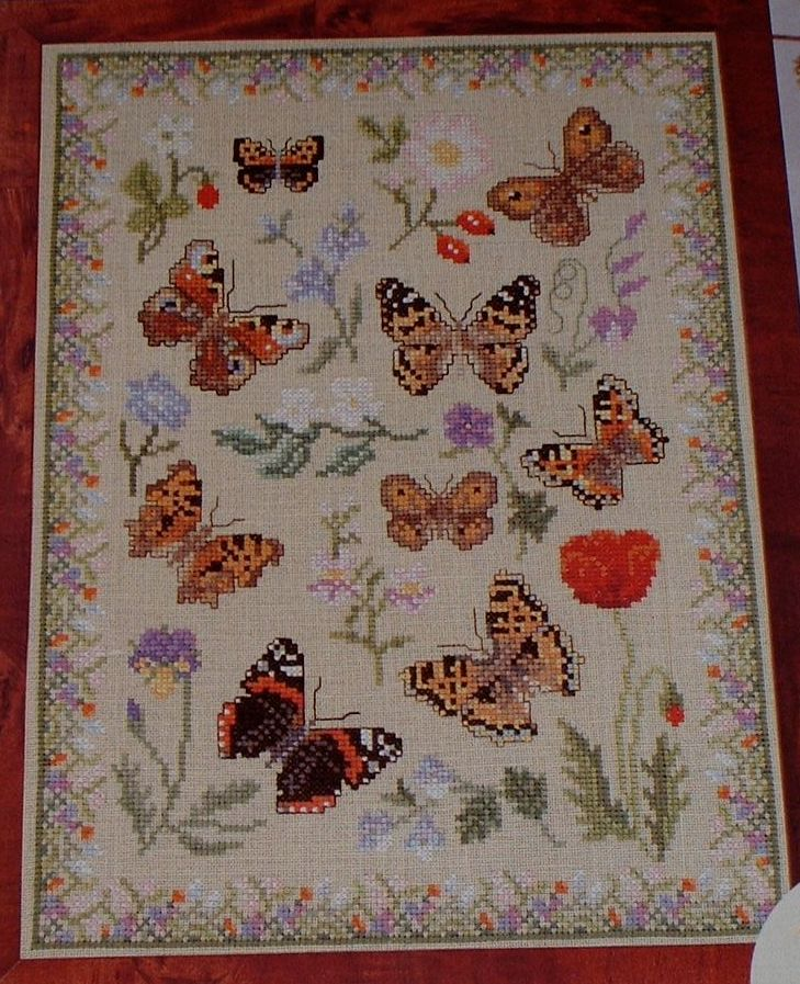 Brown Butterflies and Wildflowers Sampler ~ Cross Stitch Chart