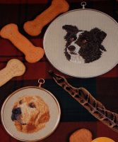 Golden Retriever & Border Collie Dogs ~ Two Cross Stitch Charts
