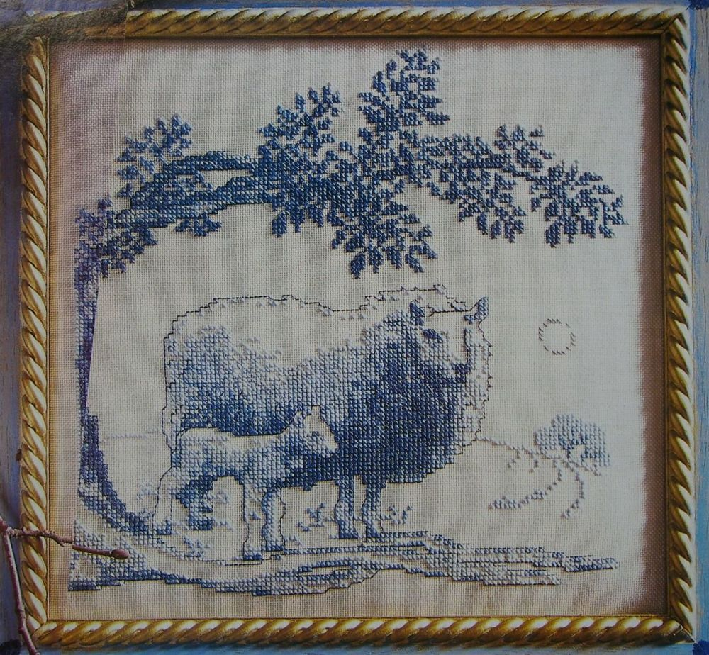 Toile de Jouy Inspired Country Scene with Sheep ~ Cross Stitch Chart