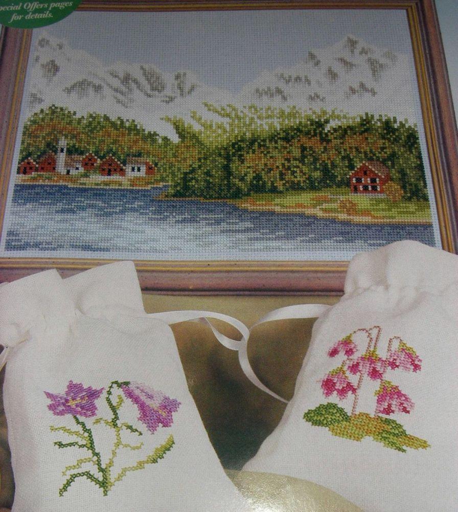 Swiss Alpine Mountain Scene and Alpine Plants ~ Five Cross Stitch Charts