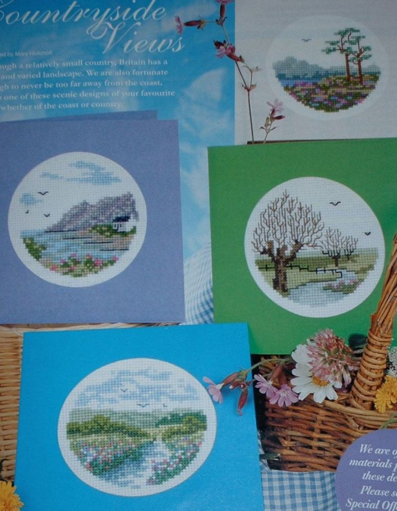 Four Countryside Views Cards ~ Cross Stitch Charts