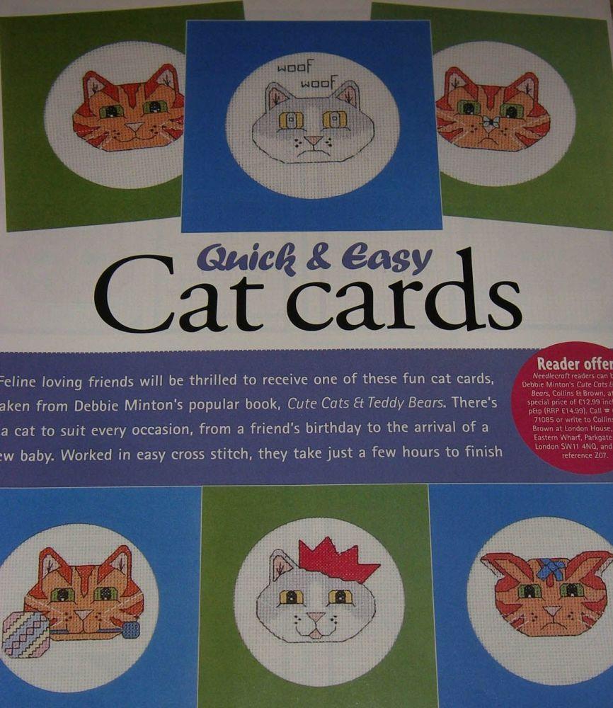 SIX Cute Cat Cards ~ Cross Stitch Charts