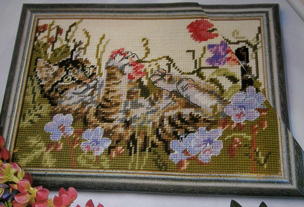 Tabby Kitten Playing ~ Cross Stitch / Needlepoint Chart