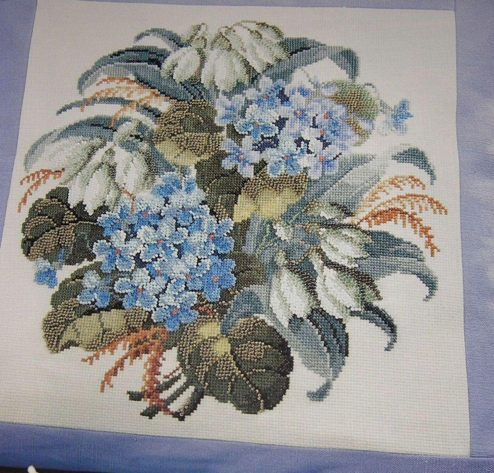 A Beadd Bouquet of Hydrangeas & Snowdrops ~ Cross Stitch Charts