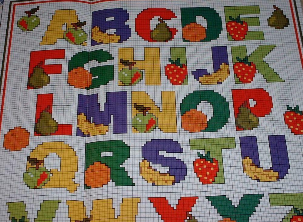 Fruit Alphabet ~ Cross Stitch Chart